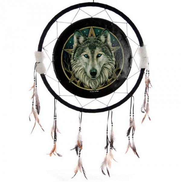 duży indiański łapacz snów z wilkiem - Magiczny Wilk