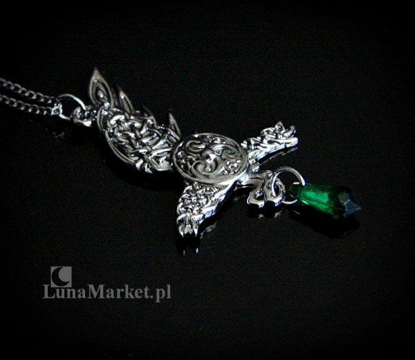 magiczny naszyjnik - Kruk Brana z zielonym kryształkiem