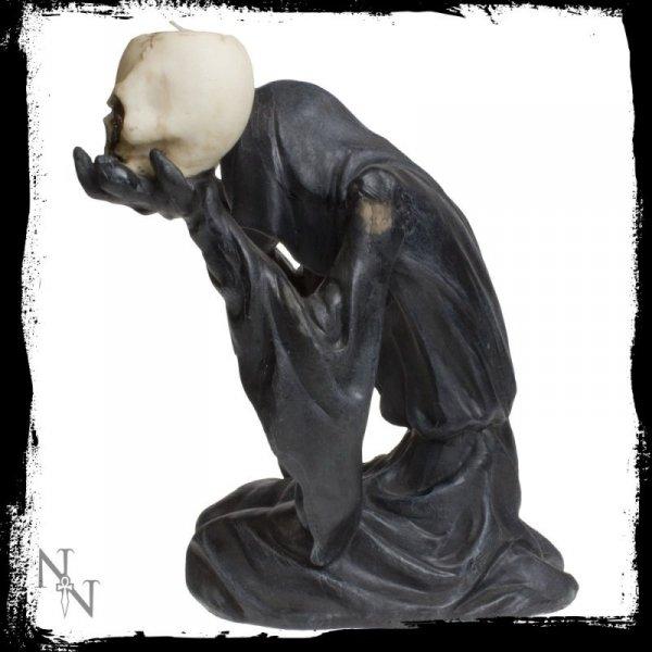 gotyckie gadżety i dekoracje: świecznik z mrocznym duchem i czaszkami