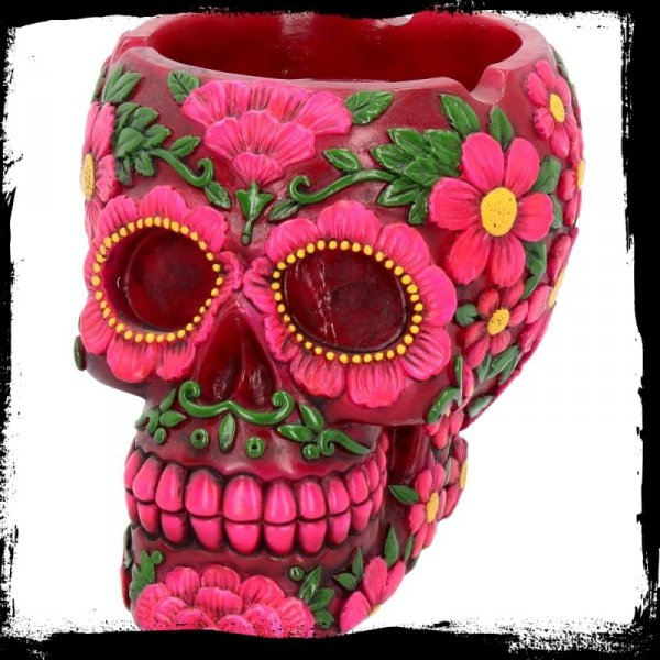 popielniczka Calavera - Meksykańska Czaszka w kwiaty, kolor ciemno-różowy