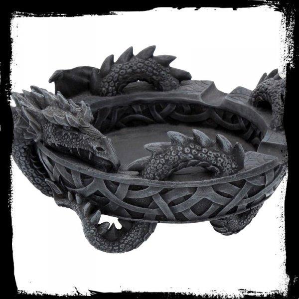 gadżety i prezenty ze smokami: Okrągła popielniczka z czarnym Smokiem