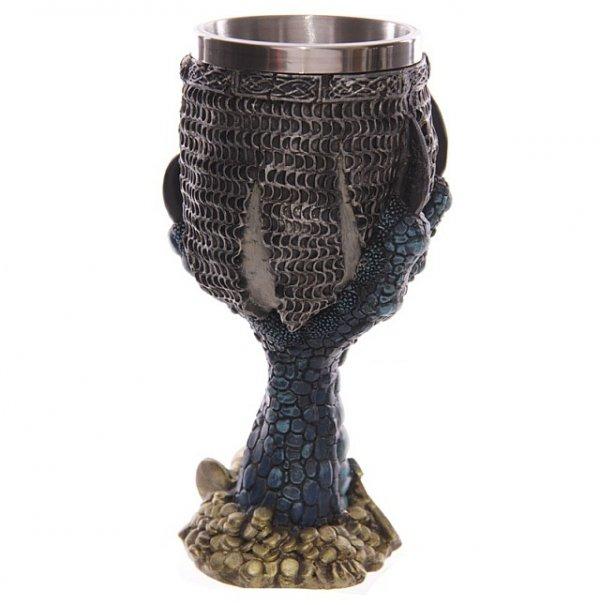 gotycki kielich dekoracyjny - smocza łapa i czaszka