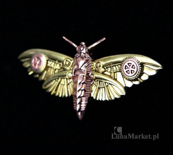 broszka w stylu steampunk mechaniczna ćma Magradore's Moth seria Engineerium by Anne Stokes