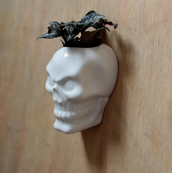 biała Czaszka - pojemnik, doniczka na ścianę z porcelany