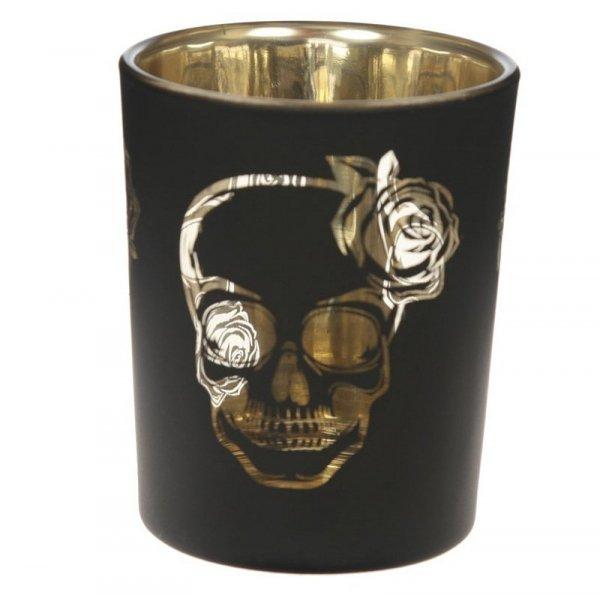 gotycki świecznik z czaszką, świeczniki z czaszkami na halloween