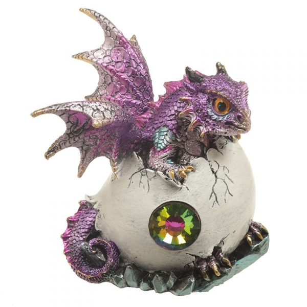 figurki w stylu fantasy - Jajo Smoka z Kryształem i Fioletowe Smoczątko