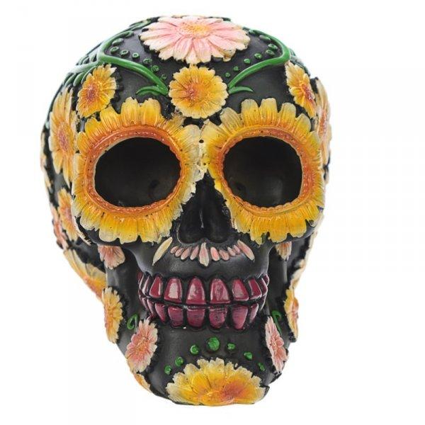 figurka - czarna Czaszka ozdobiona kwiatami