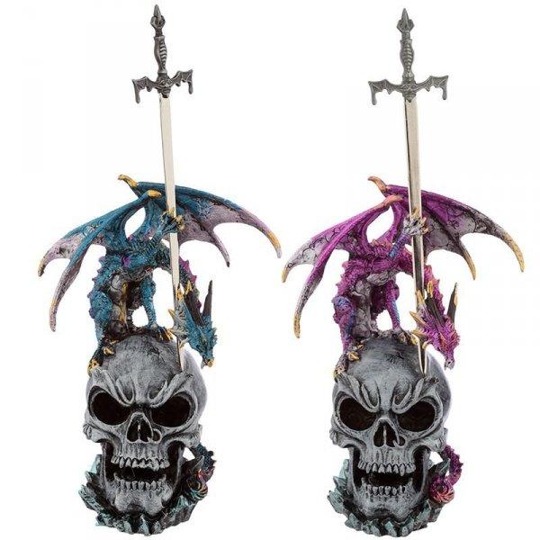 figurki fantasy Smoki na Czaszce z Mieczem - nożyki do listów