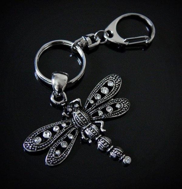Ważka z Kryształkami - brelok do kluczy lub do torebki