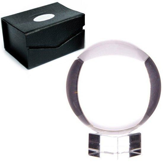 magiczna kula szklana kryształowa, średnica 11cm, z podstawką