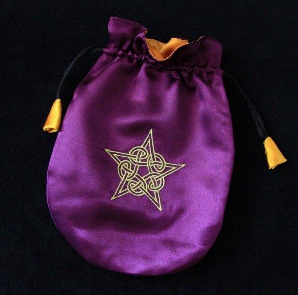 fioletowa sakiewka, satynowy woreczek na karty Tarota, runy, talizmany - Celtycki Pentagram