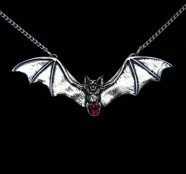 """naszyjnik z nietoperzem """"Zotz"""" - biżuteria gotycka, wisiorek - talizman: Ostrzeżenie przed niebezpieczeństwem"""