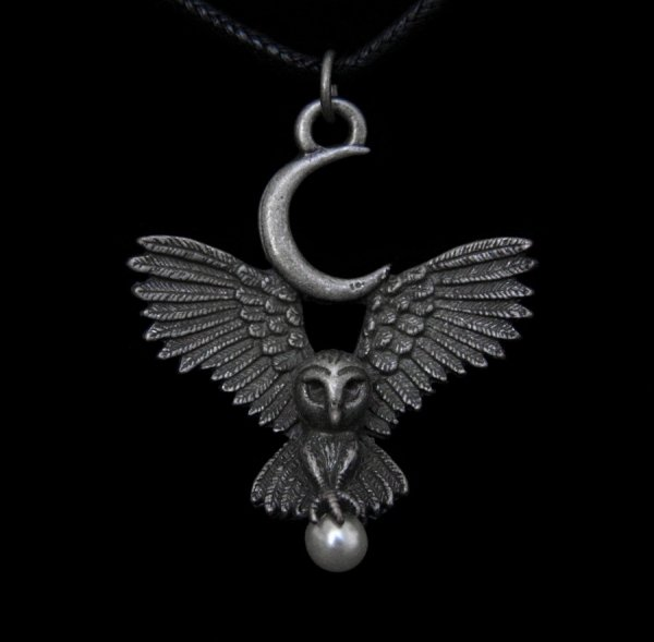 naszyjnik Lot Bogini Flight of the Goddess - wisiorek Sowa i Księżyc - biżuteria magiczna