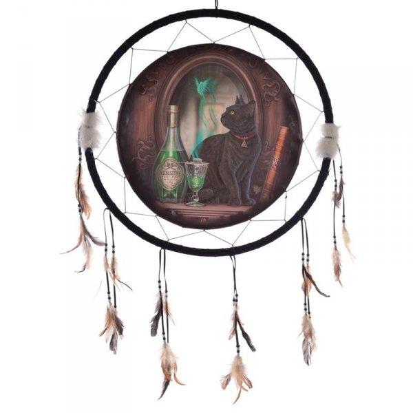 """duży indiański łapacz snów z obrazkiem Lisy Parker """"Kot i Absyntowa Wróżka"""" 60cm"""