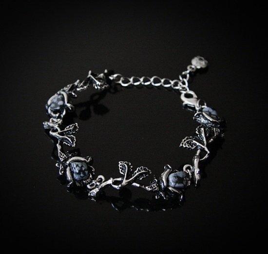 biżuteria sztuczna z obsydianem - bransoletka Czarne Róże