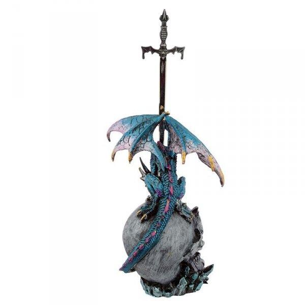 figurka fantasy Smok na Czaszce ze Sztyletem - nożyk do papieru