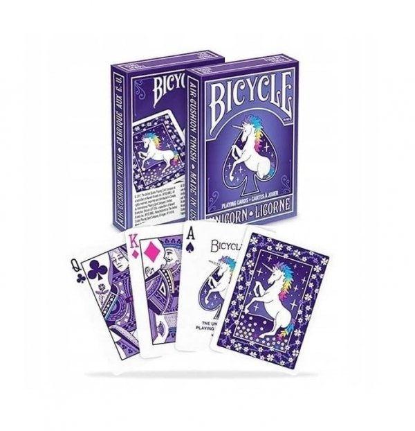 klasyczne karty do gry w brydża, pokera, pasjansa - z jednorożcami Bicycle Unicorn
