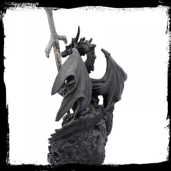 Czarny Smok ze Sztyletem - figurka z nożykiem do listów