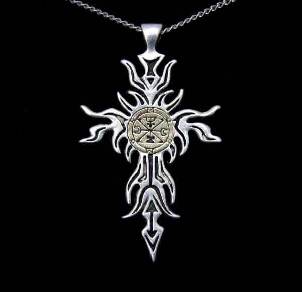 """magiczny naszyjnik """"Zagan Cross"""" Goecja Salomona, talizman Przemiany, Transformacji, biżuteria gotycka"""