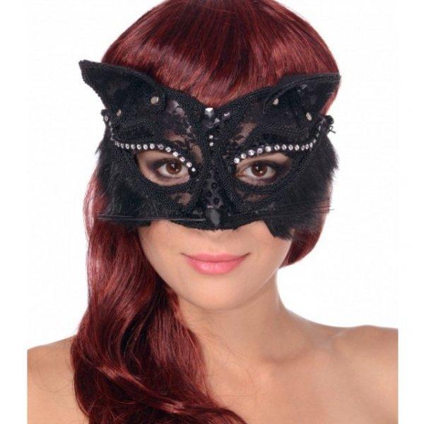maska kota maska karnawałowa kotek z uszami koronkowa czarna