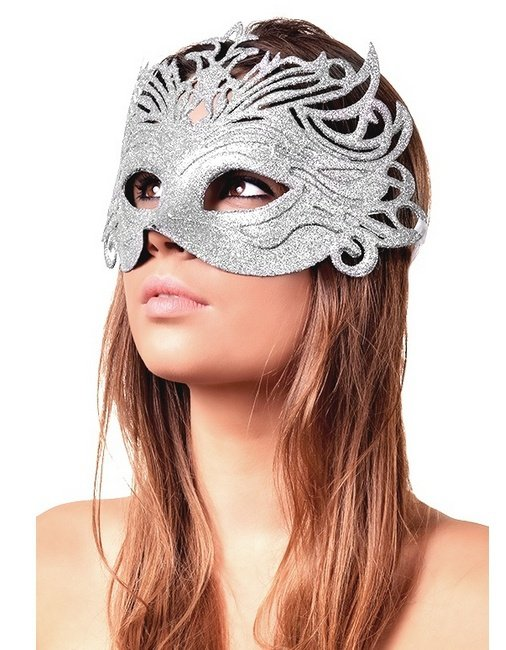 Maska karnawałowa srebrna brokatowa wiązana na tasiemki