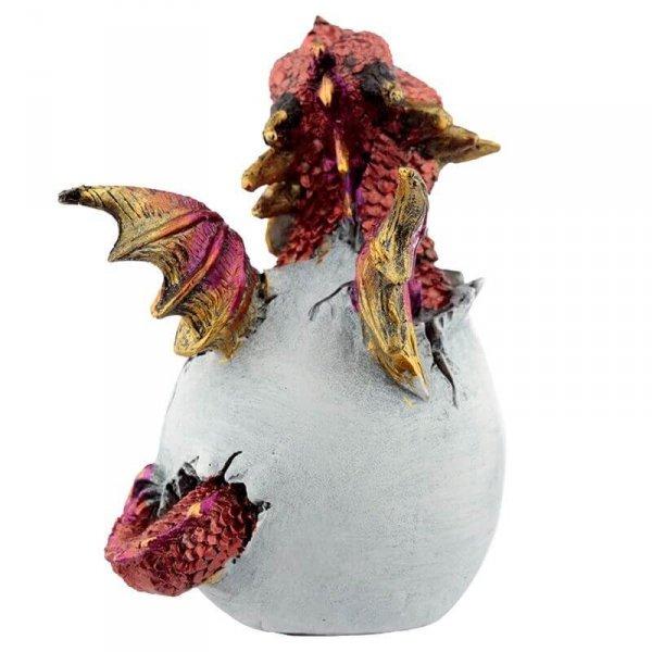 mały czerwony smok wykluwający się z jaja - Smocze Jajo figurka dekoracyjna