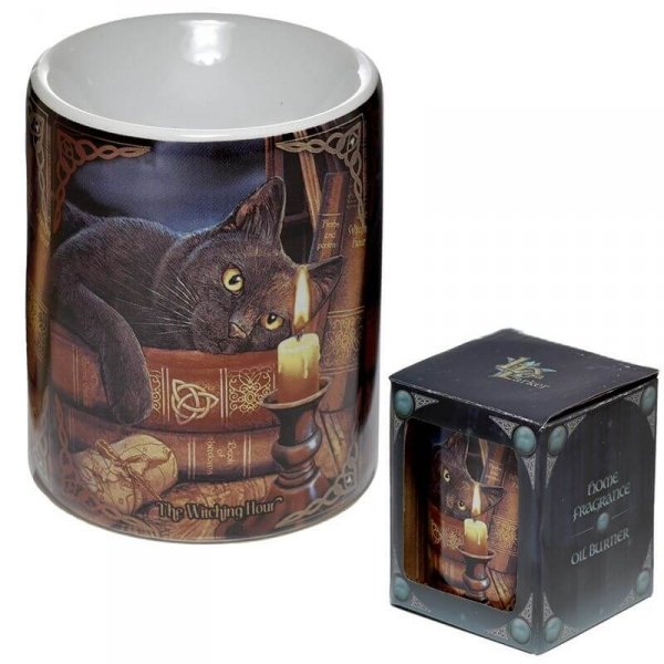 porcelanowy podgrzewacz do olejków eterycznych - kominek zapachowy Kot, projekt: Lisa Parker