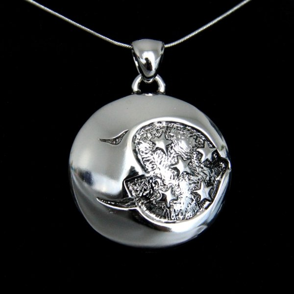 Księżyc i Gwiazdy - duży wisior z łańcuszkiem o dług. 65 cm