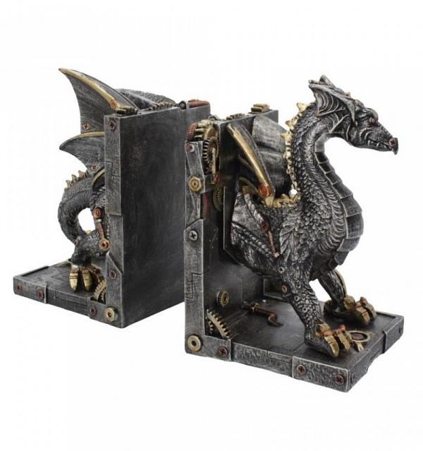 Dracus Machina - podpórki do książek steampunkowe smoki