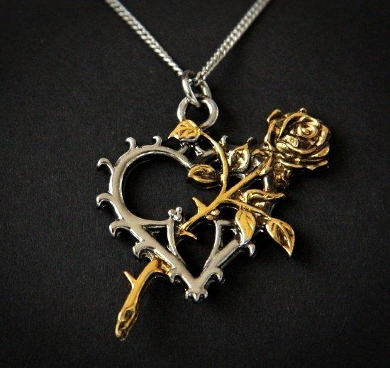 """naszyjnik serce z różą """"Kwitnienie Wiecznych"""" - talizman """"Prawdziwa Miłość"""""""
