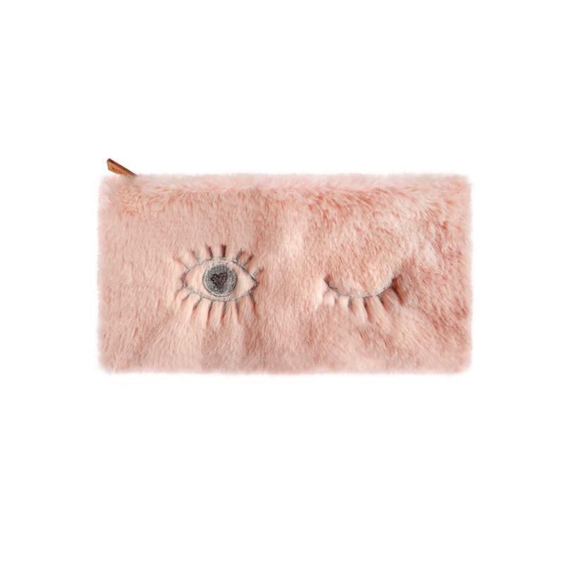 Piórnik pluszowy różowy oko
