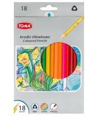 Kredki ołówkowe trójkątne 18 kolorów TOMA