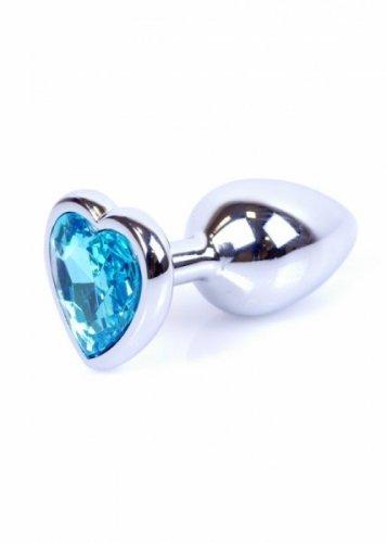 Plug-Jawellery Silver  Heart PLUG- Light Blue