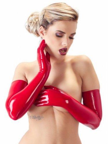 Lateksowe rękawiczki czerwone M