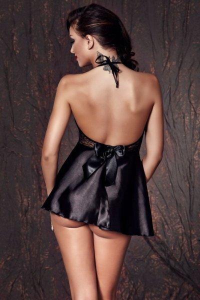Bielizna-Liu black chemise M (czarna halka)