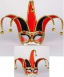 Maska wenecka - Colombina Jolly Velluto Red/Black