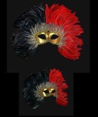 Maska wenecka - Colombina Piume Reale Black/Red