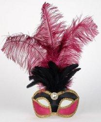 Maska wenecka - Colombina Piume Velluto Black/Bordeaux