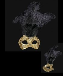 Maska wenecka - Colombina Piume Macramè Gold Black