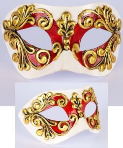 Maska wenecka - Colombina Occhi Red