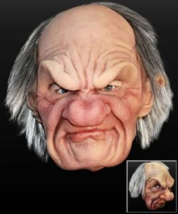 Maska lateksowa z peruką - Dziadek