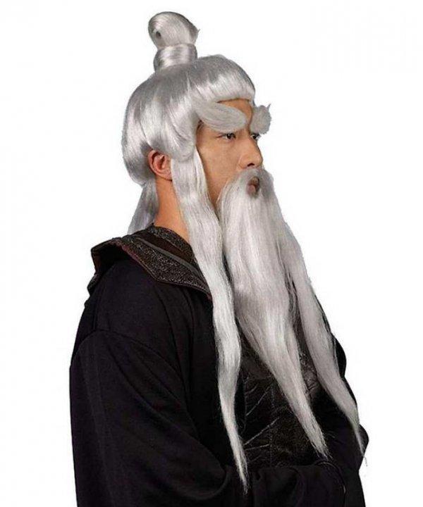 Widok z boku peruki i brody Mistrz Kung-fu