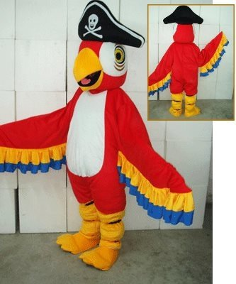 Strój reklamowy - Papuga Pirat czerwona