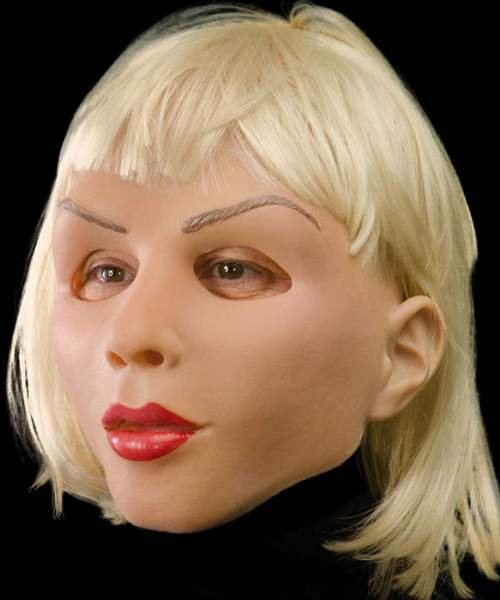 Maska lateksowa z peruką - Diva Blondyna