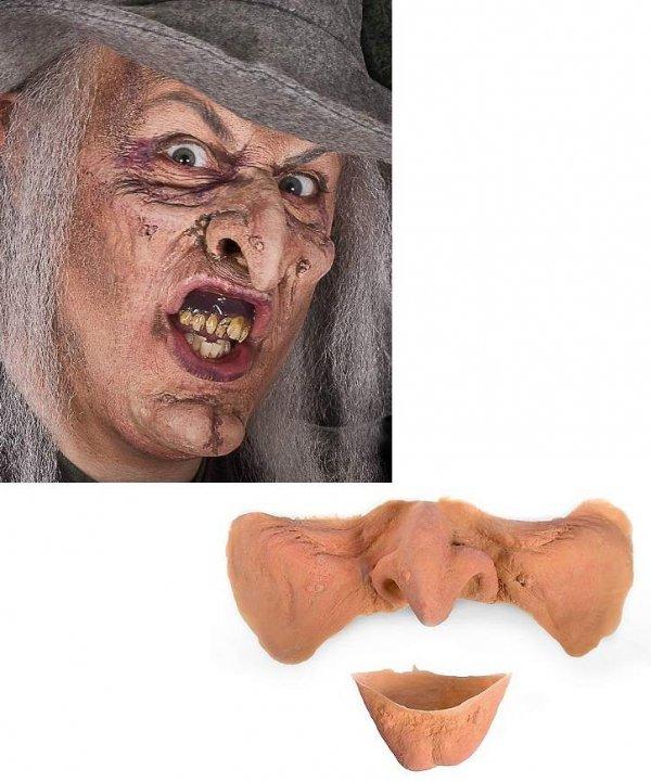 Maska wiedźmy z lateksu klejona na twarzy