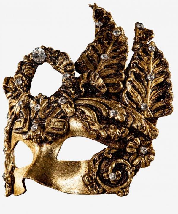 Oryginalna maska wenecka - Złota Diamentowa Dama