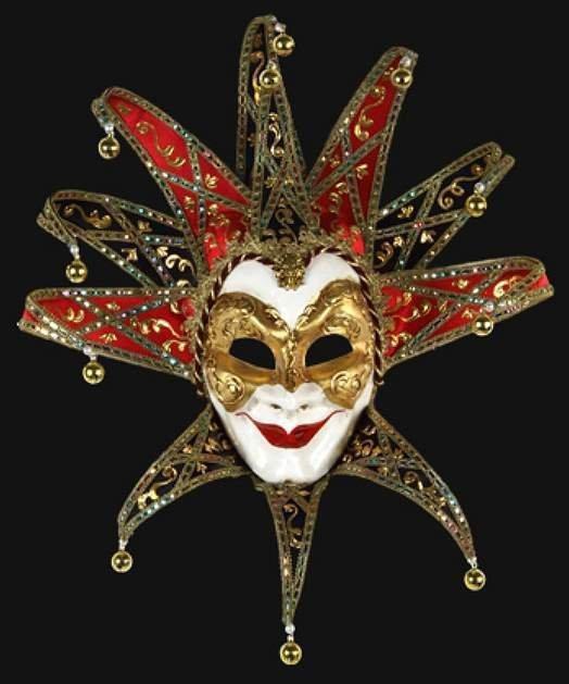 Maska wenecka - Joker Lux Reale Black/Red