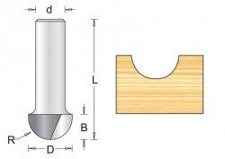 Frez wyokrąglający 6.3x44x3.2mm, chwyt 6mm