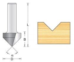 Frez rowkowy V 12,7x42x90mm chwyt 6mm