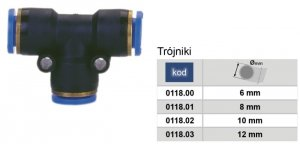 ADLER Trójnik pneumatyczny AUTO 6mm